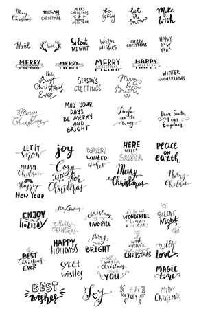 Illustration pour Set of Christmas lettering handwritten with bouncing letters vector illustration. - image libre de droit