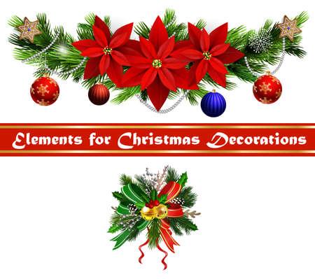 Illustration pour Christmas festive decoration set from christmas tree branches vector - image libre de droit