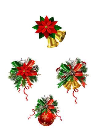 Illustration pour Christmas festive decoration from christmas tree branches - image libre de droit