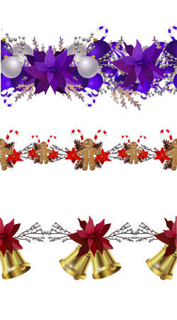 Christmas decoration collection with evergreen treess holly Vector seamless