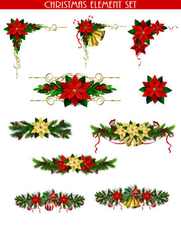 Illustration pour Christmas decoration set with evergreen treess pine cones and poinsettia isolated vector - image libre de droit