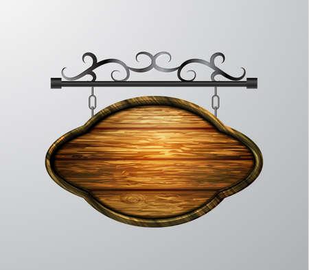 Illustration pour hanging, wooden Board vector, wooden object for text. - image libre de droit