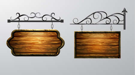 Illustration pour hanging, wooden Board set with beautiful forging vector, wooden object for text. - image libre de droit