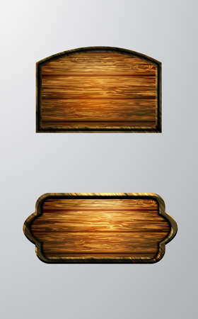 Illustration for Vector realistic illustration of wooden signboard set isolated on white - Royalty Free Image