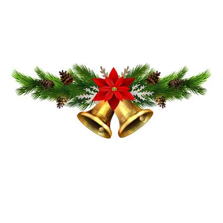 Ilustración de Christmas decorations with fir tree golden jingle bells and decorative elements. Vector illustration - Imagen libre de derechos