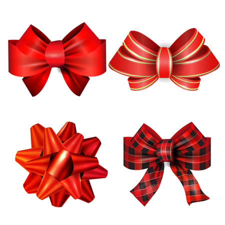 Illustration pour Big set of red gift bows with ribbons. Vector - image libre de droit