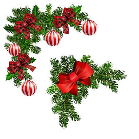 Illustration pour Christmas decorations with fir tree golden jingle bells - image libre de droit