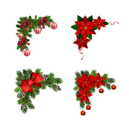 Illustration pour Christmas decorations with fir tree collection isolated - image libre de droit