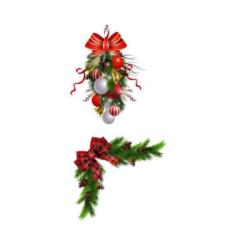 Illustration pour Christmas decorations set with fir tree and decorative elements. Vector illustration - image libre de droit
