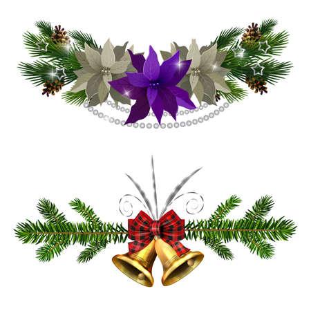 Illustration pour Christmas decorations set with fir tree golden jingle bells and decorative elements. Vector illustration - image libre de droit