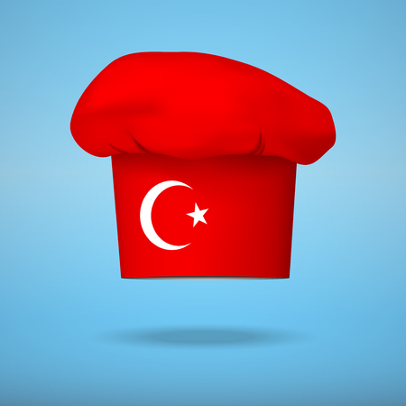Illustration pour Chef cap with the flag of Turkey. Vector illustrations on the traditional cuisine of different countries. - image libre de droit