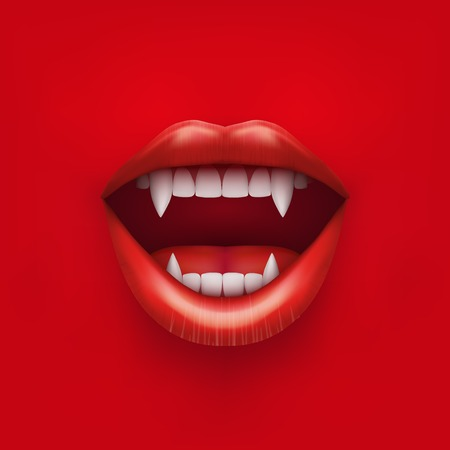 Illustration pour Background of vampire mouth with open red lips and long teeth  Vector Illustration  Isolated on white background  - image libre de droit