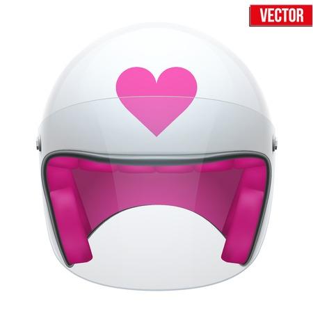 Illustration pour Pink Female Motorcycle Helmet with glass visor  Vector illustration on white background  - image libre de droit