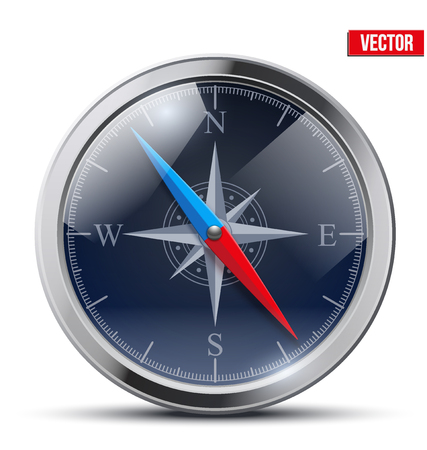 Glossy Bright Vintage Compass analog dark dial in a metal case with wind rose. Vector Illustration.