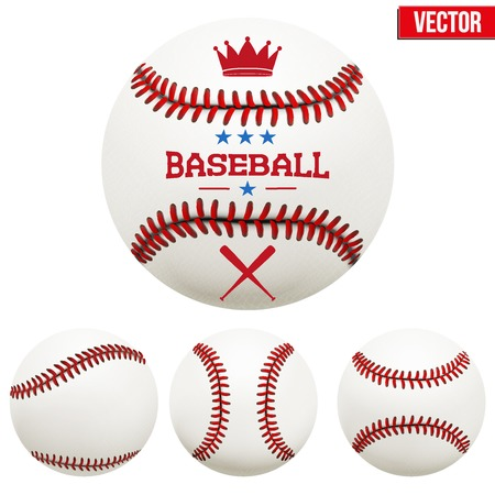Set of baseball leather balls. Vector Isolated on white background.のイラスト素材