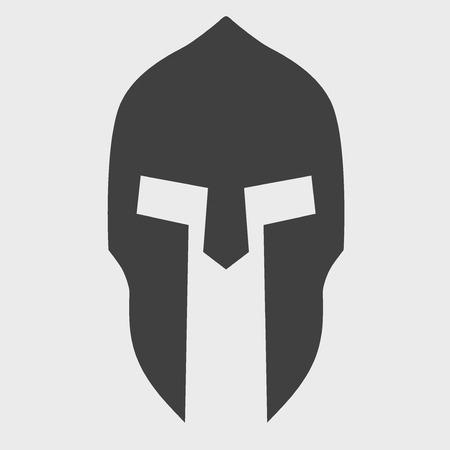 Silhouette of Spartan helmet. Vector Illustration isolated on background.