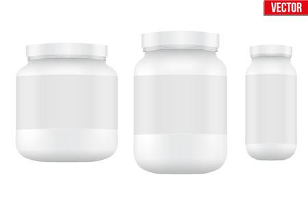 Vektor für Mockup Sport Nutrition Container. White Plastic Whey Protein and Gainer. Vector Illustration isolated on white background - Lizenzfreies Bild