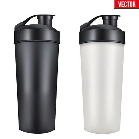 Vektor für Mockup Plastic Sport Nutrition Drink Bottle. Whey Protein and Gainer. Vector Illustration isolated on white background - Lizenzfreies Bild