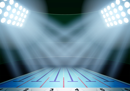 Horizontal Background for posters night swimming pool stadium in the spotlight. Editable Vector Illustration.