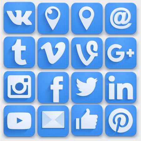 Illustration pour Set of Social media icons networking. Premium style. Vector llustration. - image libre de droit