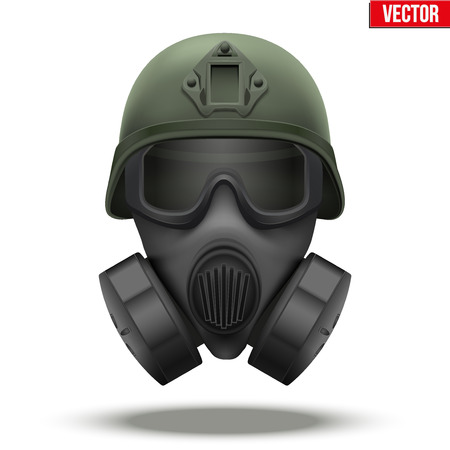 Illustration pour Military tactical helmet of rapid reaction with gas mask. Green color. Army and police symbol of defense. Editable illustration Isolated on white background. - image libre de droit