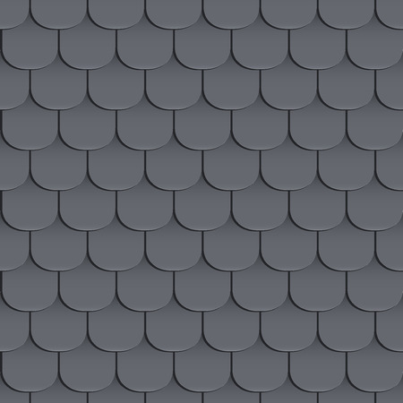Illustration for Shingles roof seamless pattern. Black color. Classic style. illustration - Royalty Free Image