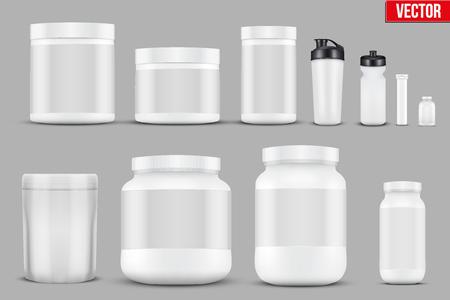 Vektor für Set Mockup Sport Vitamin Containers - Lizenzfreies Bild