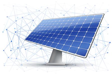 Ilustración de Vector illustration of block chain in green energy Industry. Background of blocks are connected in space with solar panel. - Imagen libre de derechos