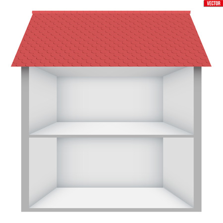 Illustration for Two-storey house House in section. Sample empty house interior. Planning of interior and communications. Vector Illustration isolated on white background. - Royalty Free Image
