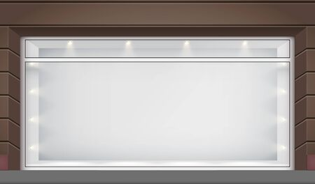 Illustration pour Exterior of shop facade with big glass storefront and spotlights. Facade of granite wall and big window. Shop Street view. Vector Illustration. - image libre de droit