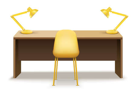 Illustration pour Wooden table desk with lamps for office and home Workplace. Vector Illustration isolated on white background. - image libre de droit
