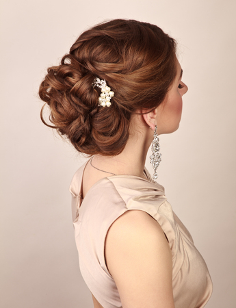 Photo pour Picture of beautiful woman with gorgeous hairstyle - image libre de droit