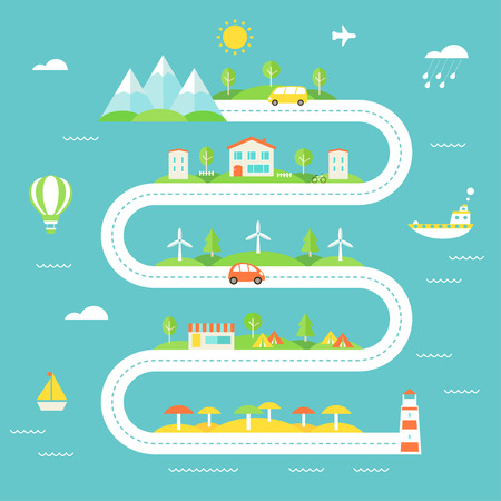 Illustration for Road Illustration with Mountains, Fields, Town, Wind Electric Stations, Camp and Beach Areas. Travel, Tourism, Sustainable Lifestyle Concept - Royalty Free Image