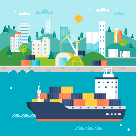 Container Cargo Ship and Port with Cranes, Warehouses, Tanks and Buildings. International Shipping Illustration