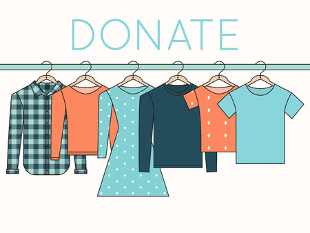 Illustration for Shirts, Sweatshirts and Dress on Hangers. Donate Clothes Outline Illustration - Royalty Free Image