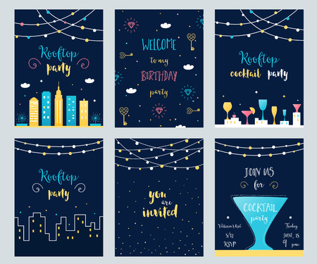 Vector Set of Rooftop, Cocktail and Birthday Party Invitation Cards with Light Garlands