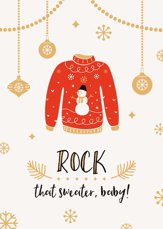 Ilustración de Ugly Sweater Christmas Party Invitation Card Template - Imagen libre de derechos