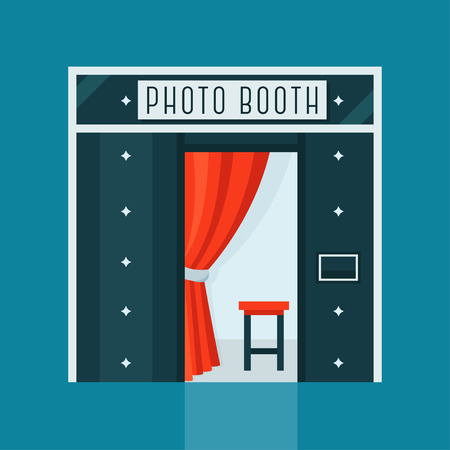 Illustration pour Vintage Photo Booth Machine with Red Curtain and Chair - image libre de droit