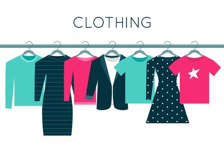 Ilustración de Shirts, Sweatshirt, Jacket and Dresses on Hangers. Clothing Vector Illustration - Imagen libre de derechos