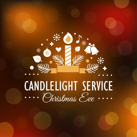 Ilustración de Christmas Eve Candlelight Service Invitation. Blurry Background - Imagen libre de derechos