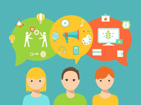 Illustration pour Students and Speech Bubbles and School Icons Representing Learning Styles and Education Needs and Preferences - image libre de droit