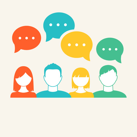 Photo pour People's Faces Icons. Communication and Teamwork Concept - image libre de droit