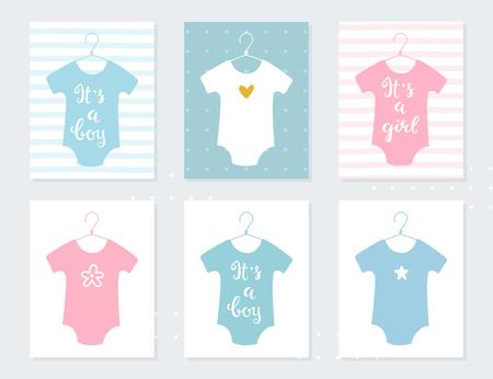 Illustration pour Babies Bodysuits Clothes on Hangers. Baby Announcement Vector Cards. It's a Boy. It's a Girl. Hand Lettering Signs - image libre de droit