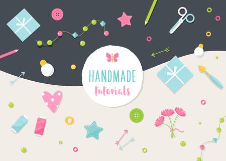 Illustration pour Handmade Tutorials and Workshops Banner. Arts, Crafts and Tools Flat Illustration. - image libre de droit