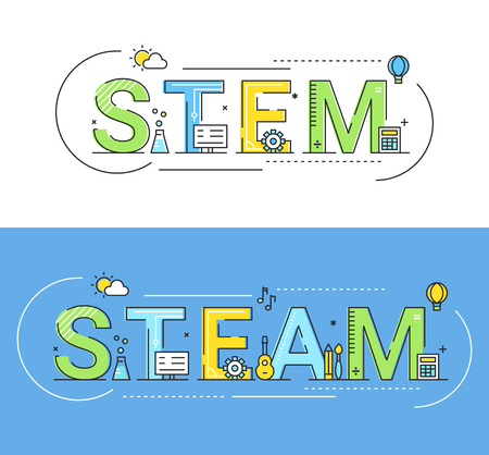 Photo pour Steam and Steam Education Approaches Concept Vector Illustration. - image libre de droit