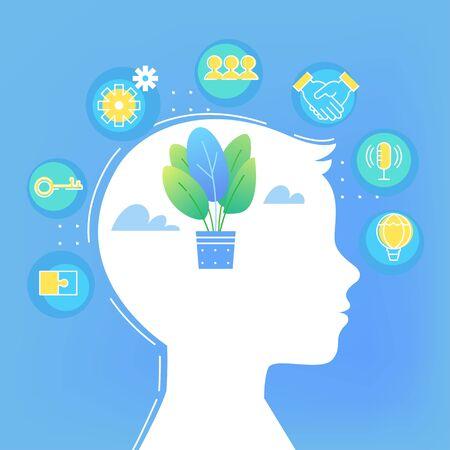 Illustration pour Children Brain Development. Soft Skills and Growth Mindset Concept Vector Illustration - image libre de droit