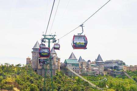Danang, Vietnam - June 24, 2019: View of Ba Na Hills Mountain Resort with The longest  cable car in Ba Na Hills, Da Nang City, Vietnam