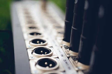 Photo pour Series of connection xlr connector. Rear of sound control panel. Close up. - image libre de droit