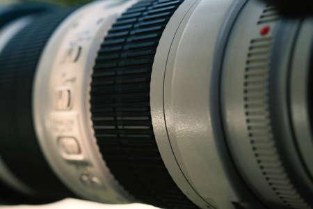 Photo pour Camera lens on light background - image libre de droit