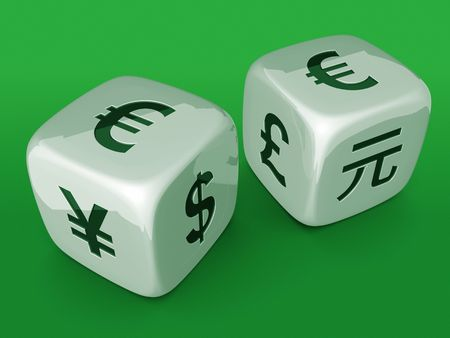 White dices with Euro currency sign on green table